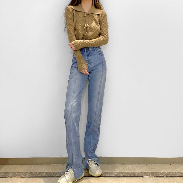 Frayed Split Seam Women Blue Jeans 4 - My Sweet Outfit - eGirl - SoftGirl Clothes Aesthetic - Goth - Grunge - Vintage - Indie Clothing - Cottagecore - Y2k - Harajuku style - Softie