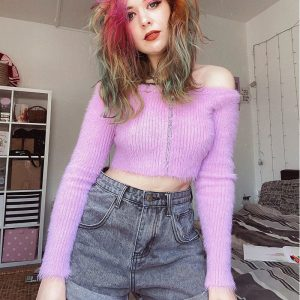 Fuzzy Open Shoulder Zipped Sweater 3 - My Sweet Outfit - eGirl - SoftGirl Clothes Aesthetic - Goth - Grunge - Vintage - Indie Clothing - Cottagecore - Y2k - Harajuku style - Softie