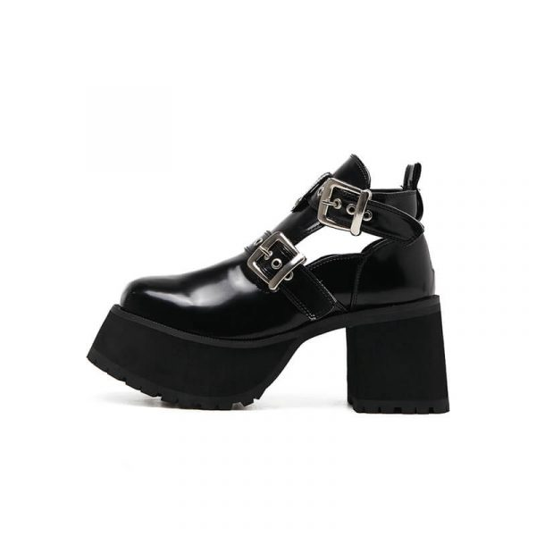 High Sole Сlasp Ankle Boots 1 - My Sweet Outfit - eGirl - SoftGirl Clothes Aesthetic - Goth - Grunge - Vintage - Indie Clothing - Cottagecore - Y2k - Harajuku style - Softie