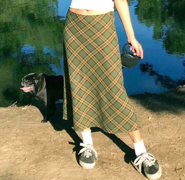 Vintage Aesthetic Fishtail Long Plaid Skirt 1 - My Sweet Outfit - eGirl - SoftGirl Clothes Aesthetic - Goth - Grunge - Vintage - Indie Clothing - Cottagecore - Y2k - Harajuku style - Softie