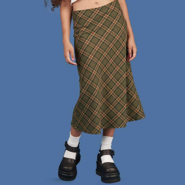Vintage Aesthetic Fishtail Long Plaid Skirt 2 - My Sweet Outfit - eGirl - SoftGirl Clothes Aesthetic - Goth - Grunge - Vintage - Indie Clothing - Cottagecore - Y2k - Harajuku style - Softie