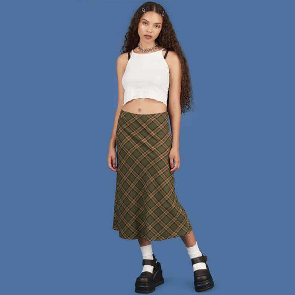 Vintage Aesthetic Fishtail Long Plaid Skirt 3 - My Sweet Outfit - eGirl - SoftGirl Clothes Aesthetic - Goth - Grunge - Vintage - Indie Clothing - Cottagecore - Y2k - Harajuku style - Softie