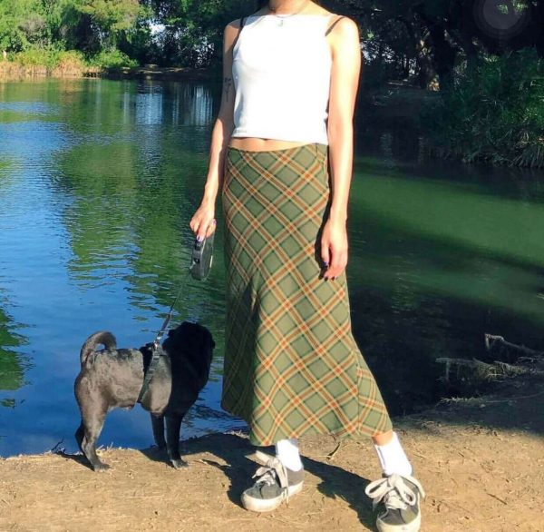 Vintage Aesthetic Fishtail Long Plaid Skirt 4 - My Sweet Outfit - eGirl - SoftGirl Clothes Aesthetic - Goth - Grunge - Vintage - Indie Clothing - Cottagecore - Y2k - Harajuku style - Softie