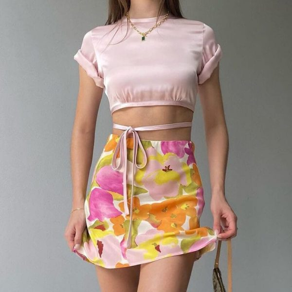 Vintage Pastoral Floral Print Slim Skirt 1 - My Sweet Outfit - eGirl - SoftGirl Clothes Aesthetic - Goth - Grunge - Vintage - Indie Clothing - Cottagecore - Y2k - Harajuku style - Softie