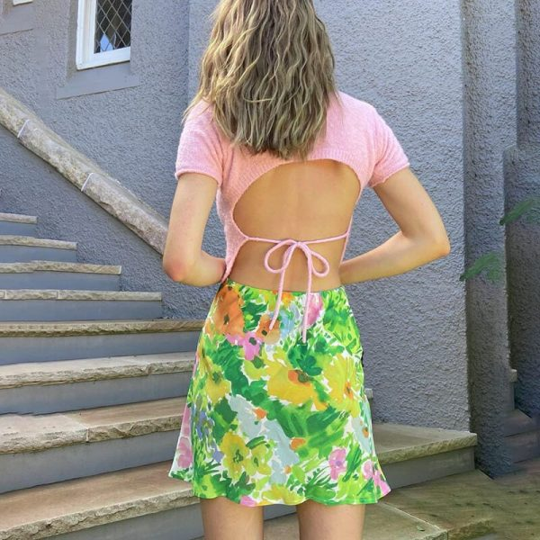 Vintage Pastoral Floral Print Slim Skirt 2 - My Sweet Outfit - eGirl - SoftGirl Clothes Aesthetic - Goth - Grunge - Vintage - Indie Clothing - Cottagecore - Y2k - Harajuku style - Softie