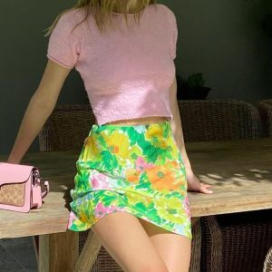 Vintage Pastoral Floral Print Slim Skirt 3 - My Sweet Outfit - eGirl - SoftGirl Clothes Aesthetic - Goth - Grunge - Vintage - Indie Clothing - Cottagecore - Y2k - Harajuku style - Softie