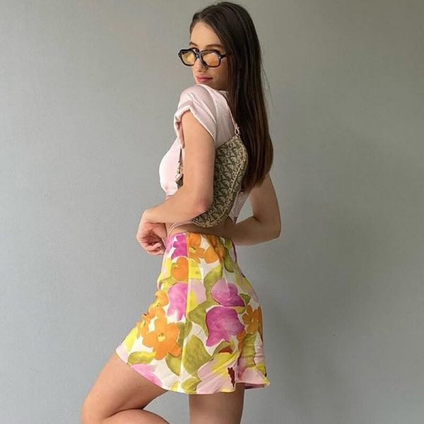 Vintage Pastoral Floral Print Slim Skirt 4 - My Sweet Outfit - eGirl - SoftGirl Clothes Aesthetic - Goth - Grunge - Vintage - Indie Clothing - Cottagecore - Y2k - Harajuku style - Softie