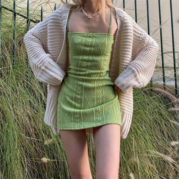 60s Style Knitted Plaid Pattern Slim Dress 1 - My Sweet Outfit - eGirl - SoftGirl Clothes Aesthetic - Goth - Grunge - Vintage - Indie Clothing - Cottagecore - Y2k - Harajuku style - Softie