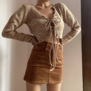 Cottagecore Aesthetics Lined Small Flower Cardigan 2 - My Sweet Outfit - eGirl - SoftGirl Clothes Aesthetic - Goth - Grunge - Vintage - Indie Clothing - Cottagecore - Y2k - Harajuku style - Softie