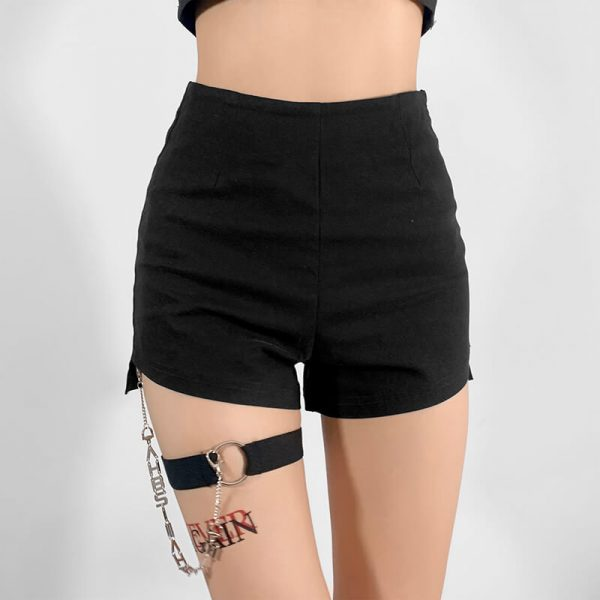 Decorative Chain Sexy High Waist Shorts 3 - My Sweet Outfit - eGirl - SoftGirl Clothes Aesthetic - Goth - Grunge - Vintage - Indie Clothing - Cottagecore - Y2k - Harajuku style - Softie