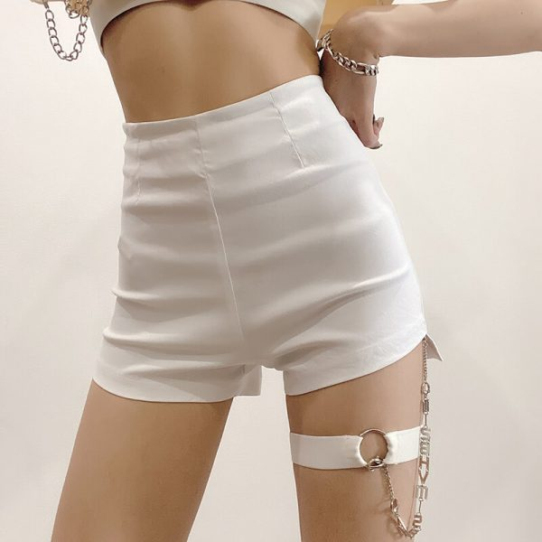 Decorative Chain Sexy High Waist Shorts 4 - My Sweet Outfit - eGirl - SoftGirl Clothes Aesthetic - Goth - Grunge - Vintage - Indie Clothing - Cottagecore - Y2k - Harajuku style - Softie