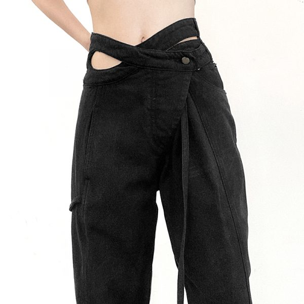 Designer Jeans With Uneven Drawstring Waistband 1 - My Sweet Outfit - eGirl - SoftGirl Clothes Aesthetic - Goth - Grunge - Vintage - Indie Clothing - Cottagecore - Y2k - Harajuku style - Softie