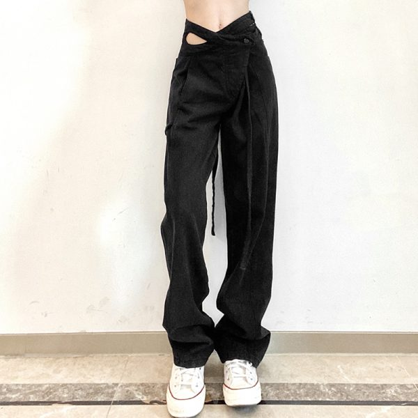 Designer Jeans With Uneven Drawstring Waistband 3 - My Sweet Outfit - eGirl - SoftGirl Clothes Aesthetic - Goth - Grunge - Vintage - Indie Clothing - Cottagecore - Y2k - Harajuku style - Softie