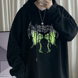 Goth Aesthetic Butterfly Skeleton Oversized Hoodie 3 - My Sweet Outfit - eGirl - SoftGirl Clothes Aesthetic - Goth - Grunge - Vintage - Indie Clothing - Cottagecore - Y2k - Harajuku style - Softie