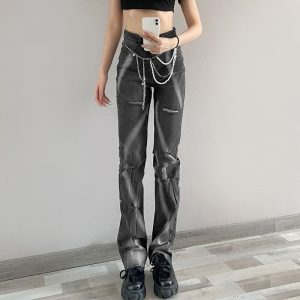 Gray Gradient Tie-Dye Ripped Jeans 1 - My Sweet Outfit - eGirl - SoftGirl Clothes Aesthetic - Goth - Grunge - Vintage - Indie Clothing - Cottagecore - Y2k - Harajuku style - Softie