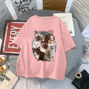 Harajuku Cute Kittens Print Long Tee 4 - My Sweet Outfit - eGirl - SoftGirl Clothes Aesthetic - Goth - Grunge - Vintage - Indie Clothing - Cottagecore - Y2k - Harajuku style - Softie