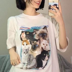 Harajuku Cute Kittens Print Long Tee - My Sweet Outfit - eGirl - SoftGirl Clothes Aesthetic - Goth - Grunge - Vintage - Indie Clothing - Cottagecore - Y2k - Harajuku style - Softie