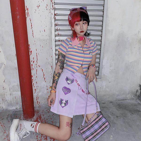 Indie Aesthetic Pleated Cartoon Patch Purple Skirt 1 - My Sweet Outfit - eGirl - SoftGirl Clothes Aesthetic - Goth - Grunge - Vintage - Indie Clothing - Cottagecore - Y2k - Harajuku style - Softie