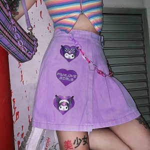 Indie Aesthetic Pleated Cartoon Patch Purple Skirt 2 - My Sweet Outfit - eGirl - SoftGirl Clothes Aesthetic - Goth - Grunge - Vintage - Indie Clothing - Cottagecore - Y2k - Harajuku style - Softie