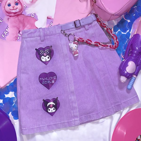 Indie Aesthetic Pleated Cartoon Patch Purple Skirt 3 - My Sweet Outfit - eGirl - SoftGirl Clothes Aesthetic - Goth - Grunge - Vintage - Indie Clothing - Cottagecore - Y2k - Harajuku style - Softie