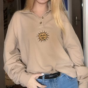 Indie Aesthetic Sun Embroidery Collar Buttoned Sweatshirt 3 - My Sweet Outfit - eGirl - SoftGirl Clothes Aesthetic - Goth - Grunge - Vintage - Indie Clothing - Cottagecore - Y2k - Harajuku style - Softie