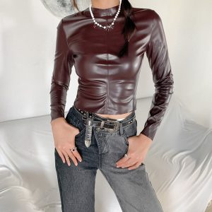 Latex Aesthetic Long Sleeve Zip Back Pullover 3 - My Sweet Outfit - eGirl - SoftGirl Clothes Aesthetic - Goth - Grunge - Vintage - Indie Clothing - Cottagecore - Y2k - Harajuku style - Softie