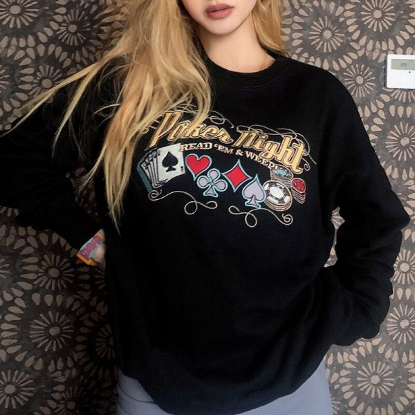 Poker Night Letters Embroidery Lazy Sweatshirt 2 - My Sweet Outfit - eGirl - SoftGirl Clothes Aesthetic - Goth - Grunge - Vintage - Indie Clothing - Cottagecore - Y2k - Harajuku style - Softie