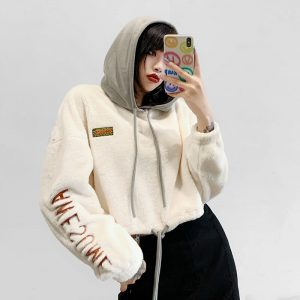 White Long Sleeve Embossing Fluffy Hoodie 1 - My Sweet Outfit - eGirl - SoftGirl Clothes Aesthetic - Goth - Grunge - Vintage - Indie Clothing - Cottagecore - Y2k - Harajuku style - Softie