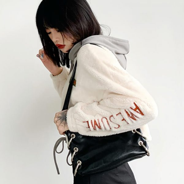 White Long Sleeve Embossing Fluffy Hoodie 2 - My Sweet Outfit - eGirl - SoftGirl Clothes Aesthetic - Goth - Grunge - Vintage - Indie Clothing - Cottagecore - Y2k - Harajuku style - Softie